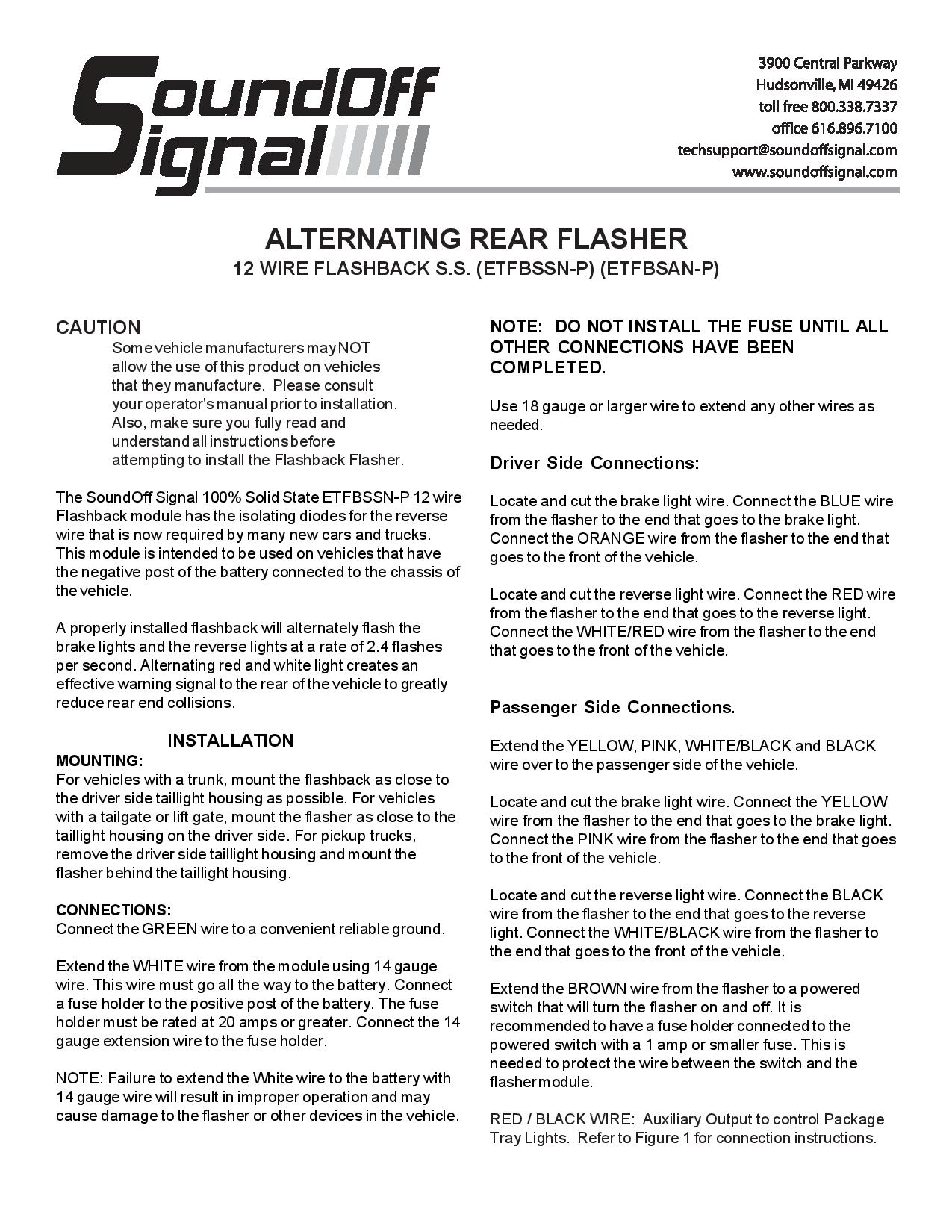 Sound Off ETFBSSN P instructions page 001 soundoff flashback wiring diagram whizzer wiring diagram \u2022 wiring SoundOff Signal Wig Wag Wiring-Diagram at couponss.co