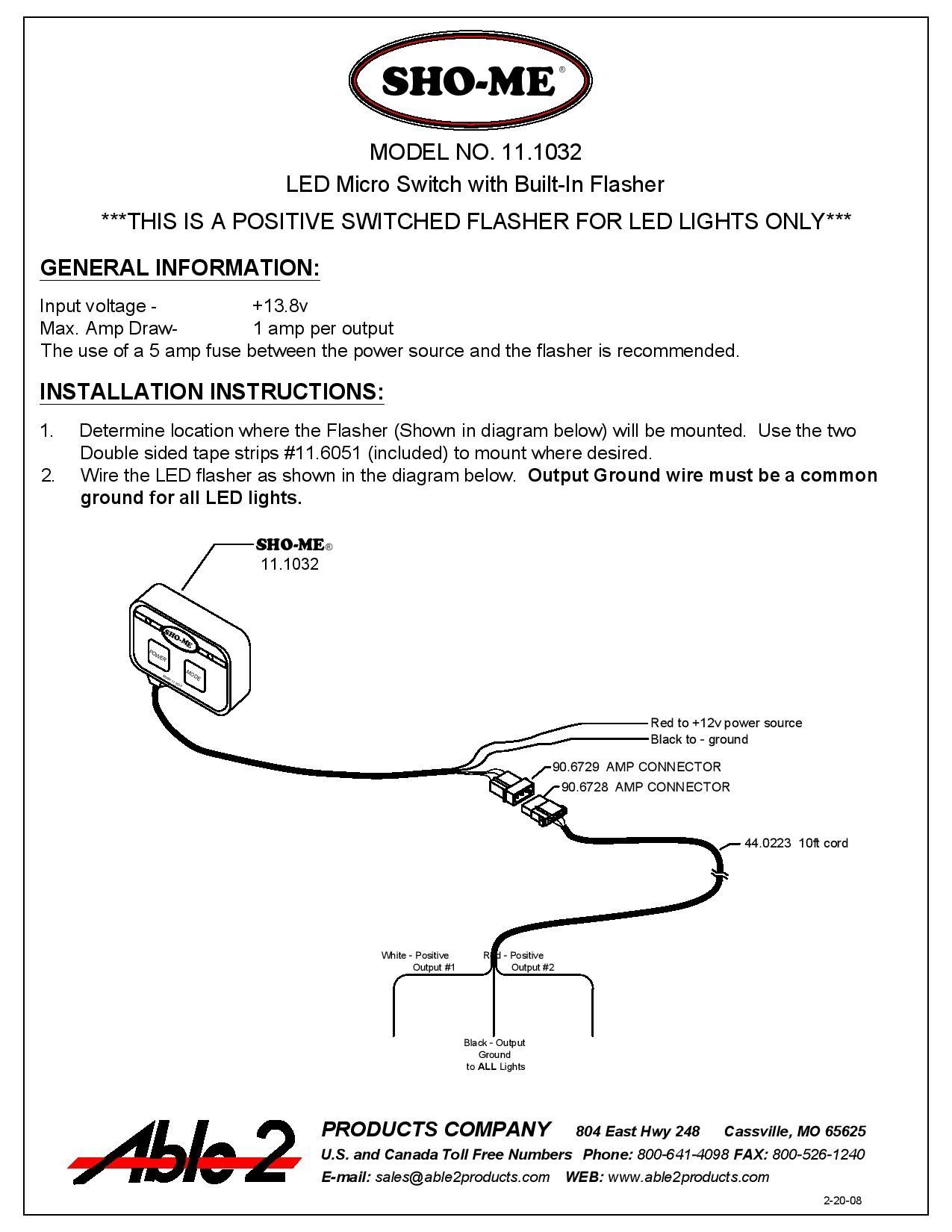 Sho Me Led Flasher Wire Diagram Free Download 5 Blade Wiring Micro Switch With Built In